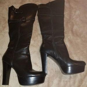 Guess Black Leather Platform High Heel Boots
